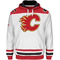 Majestic NHL Kaputzenpullover Hoody Hooded Jersey Sweater Calgary Flames Double Minor weiß