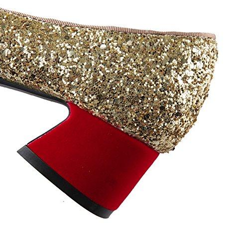 VogueZone009 Damen Ziehen Auf Blend-Materialien Spitz Zehe Gemischte Farbe Pumps Schuhe Rot
