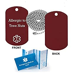 Pre-engraved Allergic to Tree Nuts Medical Alert Identification Red Anodized Aluminum Dog Tag. Choose from Diabetes Coumadin Blood Thinners Seizures Asthma Pacemaker Allergy and many more...
