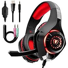 Auriculares Gaming Premium Stereo con Microfono para PS4 PC Xbox One, Cascos Gaming con Bass Surround Cancelacion ruido, Diadema Acolchada y Ajustable, Microfono Unidireccional (Tiene un adaptador) …