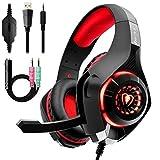 Auriculares Gaming Premium Stereo con Microfono para PS4 PC Xbox One, Cascos Gaming con Bass Surround Cancelacion ruido, Diadema Acolchada y Ajustable, Microfono Unidireccional (Tiene un adaptador) ...