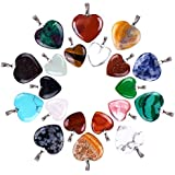 Outus 20 Pièces Pendentifs en Pierre en Forme de Coeur Perles de Chakra DIY Crystal Charms, 2 Tailles Différentes, Couleurs Assorties