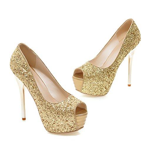 YE Peep Toe High Heels Plateau Glitter Pumps mit Elegant Stiletto Pailletten Party Schuhe Gold