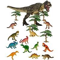 TOYMYTOY 24 St/ück Mini Dinosaurier Spielzeug Set realistische Dinosaurier Figuren Spielzeug mit B/äumen f/ür Kinder und Kleinkind 22pcs Dinosaurier und 2pcs B/äume