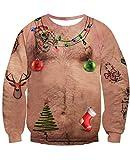 NEWISTAR Weihnachtpullover Herren Damen 3D Brustbehaarung Gedruckt Pullover Damen Weihnachten Jumper Tops Sweatshirts Bluse XXXL