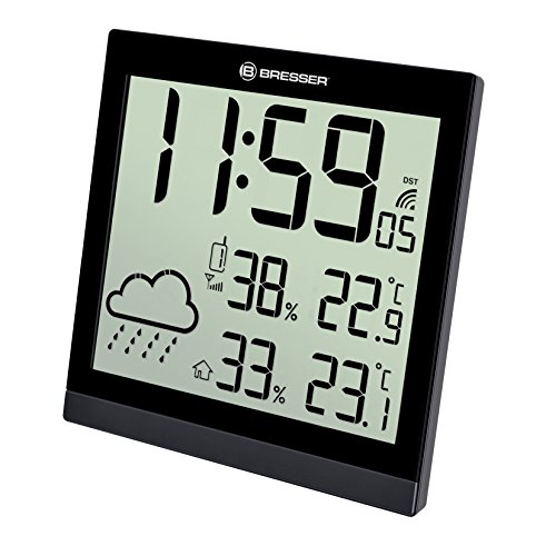 Bresser Weather Station Wall Clock TemeoTrend JC 22x22cm with outdoor sensor, black