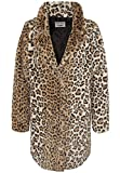 Stitch & Soul Damen Kunstfellmantel mit Leopard-Print | Weicher Winter-Mantel mit Animal Muster Brown M/L