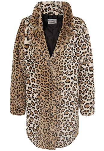 Stitch & Soul Damen Kunstfellmantel mit Leopard-Print   Weicher Winter-Mantel mit Animal Muster Brown S/M Leopard Mantel