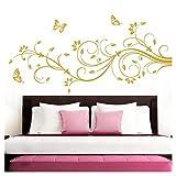 Grandora Wandtattoo XXL Blumenranken Schmetterlinge Blumen I gold (BxH) 160 x 69 cm I Schlafzimmer Liebe Flur Wohnzimmer modern Aufkleber Wandaufkleber W1073
