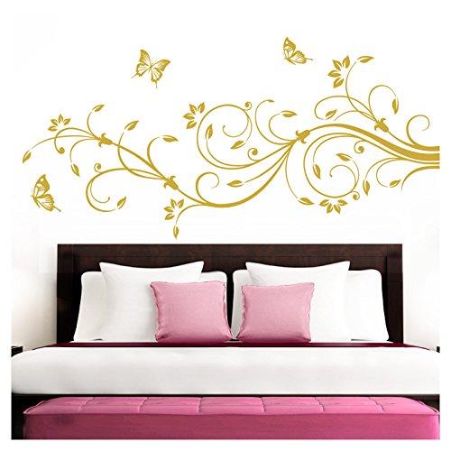 Grandora Wandtattoo XXL Blumenranken Schmetterlinge Blumen I gold (BxH) 210 x 81 cm I Schlafzimmer Liebe Flur Wohnzimmer modern Aufkleber Wandaufkleber W1073 -