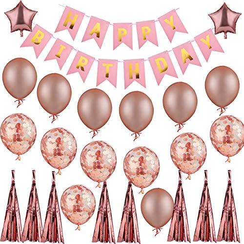 YONIDA Ballons Birthday Party Dekorationen für Feier, EinschließLich 8 Zoll Rosa Alles Gute Zum Geburtstag Banner, 18-Zoll Fünf Stern Folie Ballon, 12 Zoll Rose Gold Latex Ballons, Rose Gold ()