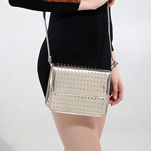 Faysting EU borsa a tracolla donna vari colori scelti PU pelle rivetti figura buon regalo san valentino oro