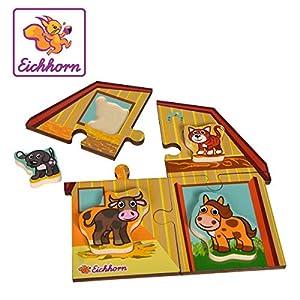 Eichhorn 100005419 - Puzzle de 2 Niveles (Motivo de Granja con 4 Animales, 8 Piezas, Madera contrachapada de Lino, certificación FSC 100%), Multicolor