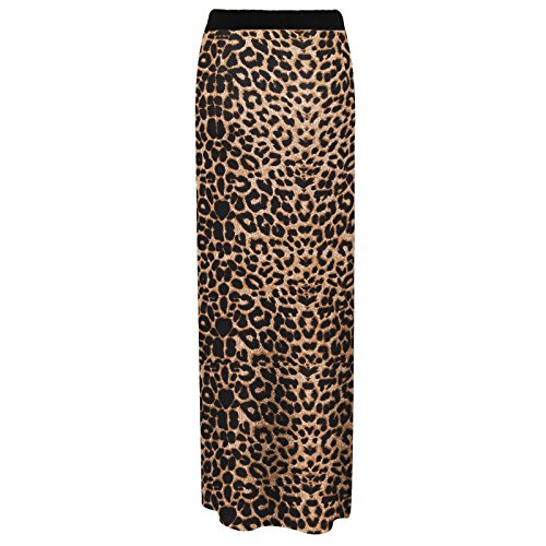 MIXLOT NOUVELLES FEMMES JUPE IMPRIMEE LONGUE MAXI JUPE GYPSY STRETCHY BODYCON ROBE D'ETE Brown Leopard
