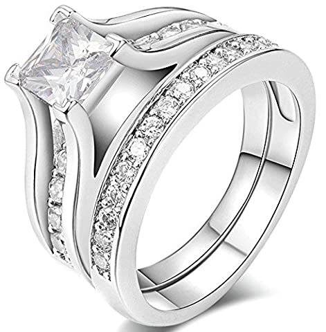 SaySure 18K White Gold Plated Anniversary Wedding & Engagement Couple Rings