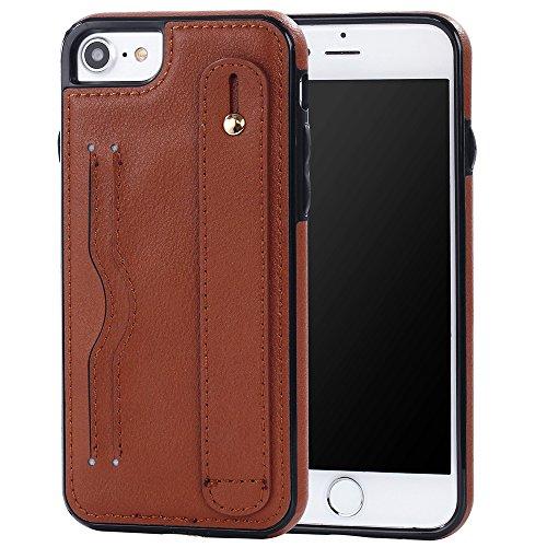 iPhone 5/5S/SE Case Hülle mit Kartenfach Kredit Karten Hülle Kunst Leder Handy Schutzhülle von Harrms, Stil 2 - Braun
