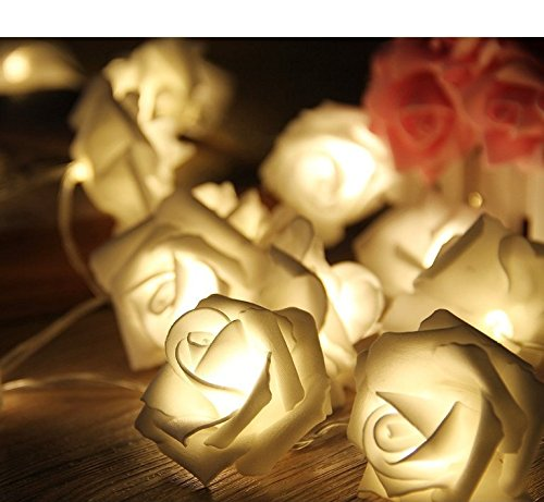 Blumen LED Lichterkette 20 LED Rosen Lichterkette Batteriebetrieben Innen Im Freien Beleuchtung für Garten Rasen Bar Verein Hochzeit Valentinstag Weihnachten Schlafzimmer Innendekoration