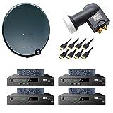 PremiumX Komplett Digital 4 Teilnehmer SAT Anlage 80cm Antenne Anthrazit mit Quad LNB 0,1 dB 4K und 4x HDTV Satelliten Receiver