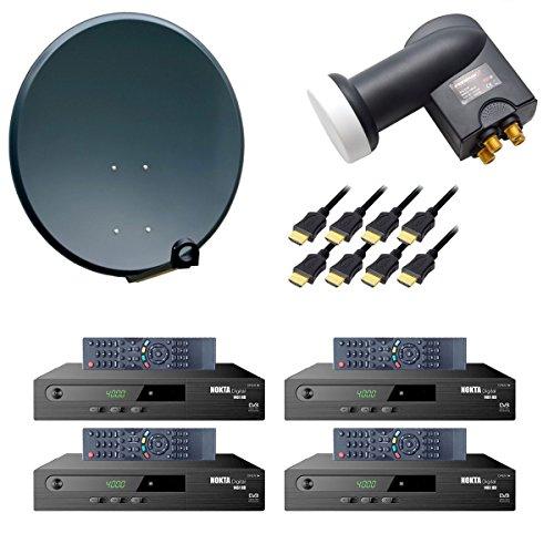 PremiumX digital 4 Teilnehmer SAT Anlage 80cm Antenne Anthrazit mit Quad LNB 0,1 dB 4K und 4x Satelliten Receiver DVB-S2 HDTV