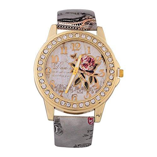 Montres pour des femmes, montre analogique de quartz de montre d'unité ronde de fleur d'unité centrale de quartz avec la décoration de fausse pierre(Gray Strap)