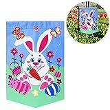LUOEM Ostern Garten Fahnen Kaninchen Ostereier DIY Garten Flagge für Ostern Festival Party Decor Doppelseite Gedruckt