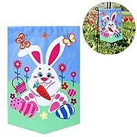 DescrizioneQuesto doppio lato stampato giardino bandiera offre un facile ed emozionante per decorare la tua festa festival nel suo stile. 'Il foglio pricture descrive un gioioso scene; vi sono divertenti conigli, uova di Pasqua colorate e be...