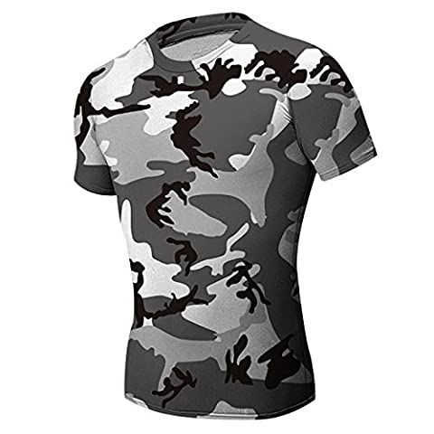 Alamor Mens Camouflage Noir Blanc Wicking T-Shirts Tight Sport Fitness Entraînement Stretch Course T-Shirt-M