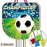Zug-Pinata Fussball, mit 8 Bändeln, 43cm, für Pinata-Spiele