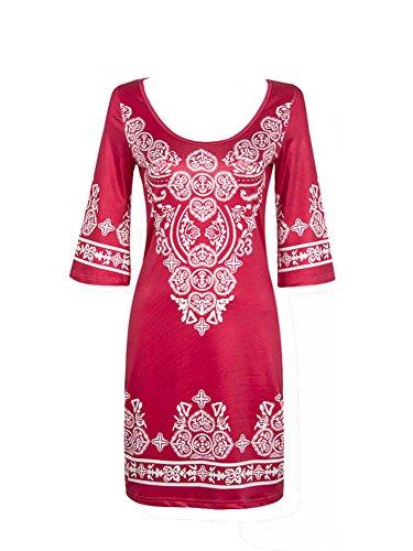 LaoZan Damen O-Ausschnitt Halbe Hülse Vintage Druck Tunika Strand Kleid Mini Kleid Kurz Kleid Knielänge Rot