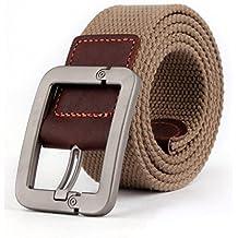 Regolabile Canvas Cintura Belt Waistband con Fibbia in metallo - Aohro All'aperto Sport Cinghia Uomo Donna Unisex in Tessuto Tela - stile 1 - cachi