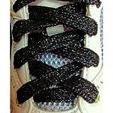 Gleader Lacci delle scarpe 47 'glitter PIATTO COLORATO SPORT DANZA FANCY DRESS-nero