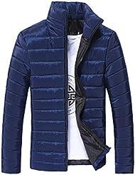 Abrigos de Hombre Invierno Plumas, LILICAT Chaqueta Algodón Collar del soporte Caliente grueso con cremallera (3XL, Azul)