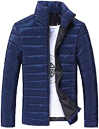 Abrigos de Hombre Invierno Plumas, LILICAT Chaqueta Algodón Collar del soporte Caliente grueso con cremallera (L, Azul)