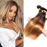 Best Hair Weave Blonde 3 Bundles - PURUN Ombre Blonde Hair Two Tone Straight Weave Review