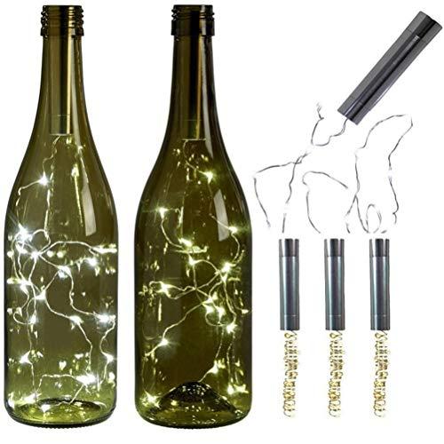 Fenical 1 stück 1 Mt Kork LED Lichterketten 10 Lampen Taschenlampe für Hochzeit Weihnachten Festival (Keine Batterie)