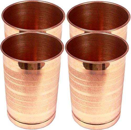 ROYAL SAPPHIRE Pure Copper Glass for Drinking Water   Tumbler Set Of 4  Copper Cup Set for Ayurveda Health Benefits Vintage Barware