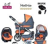 Chilly Kids Matrix II Kinderwagen Safety-Set (Autositz & ISOFIX Basis, Regenschutz, Moskitonetz, Schwenkräder) 11 Grafit & Orange