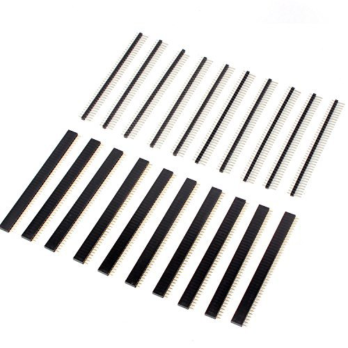Neuftech - 10 x 2,54mm dritti Connettori a pettine maschio e 10x connettori femmina a fila singola da 40 pin per circuiti stampati