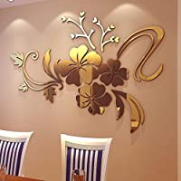 Aobuang 3D Mirror Floral Art Removable Wall Sticker Acrylic Mural Decal Home Room Decor (Gold)