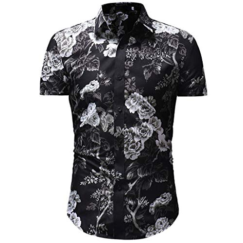 Baumwolle Rolled Sleeve Shirt (Männer knöpfen unten kurzes Hülsen-T-Shirt beiläufiges hawaiisches dünnes Retro Polo-Hemd für Feiertag)