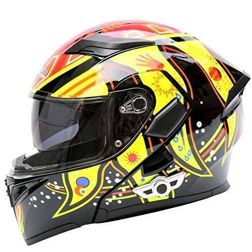 AYUE® Modular Helm Motorrad-Unfall Motorrad D.O.T Zertifizierungs-Full Face Racing Bluetooth Helme Flip vorne Automatische Antwort Anti-Fog Double Mirror,XL (Helm Antwort Racing)