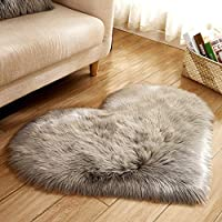 PinShang Soft Artificial Plush Rug Chair Cover Warm Hairy Carpet Seat Pad Modern Style Home Decoration gray