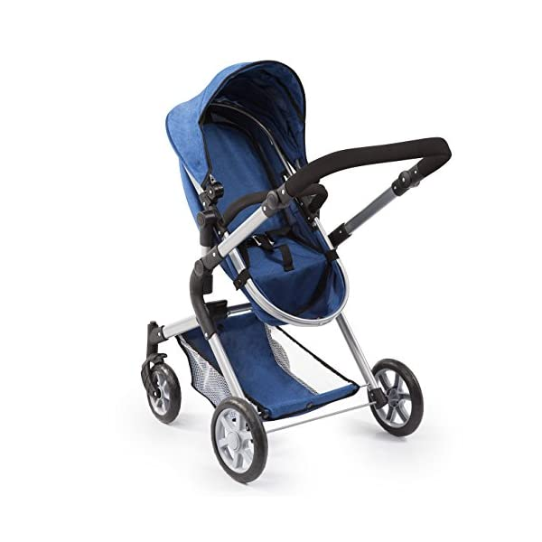 Bayer Design 18135AA City Neo Doll's Pram with Bag and Underneath Shopping Basket, Blue Bayer Design dimension: 82 x 38.5 x 79 cm suitable for dolls up to 52 cm adjustable handle height: 59 - 79 cm 5