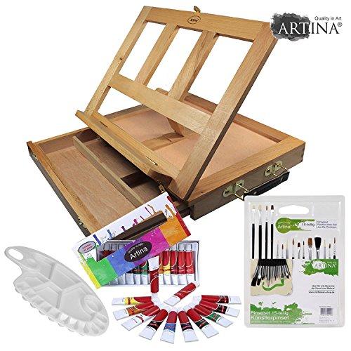 artinar-artist-starter-kit-set-with-box-table-easel-colmar-oil-paints-brushes-palette