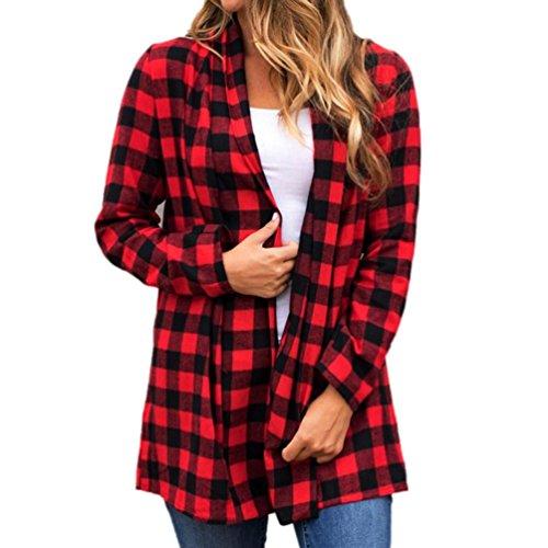 MIRRAY Frauen Plaid Bluse Cardigan Langarm-Lose Anzug Outwear Mantel Jacke