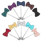 Gosear 10pz Uomini Signori Panno Mestiere Bow Cravatta Forma Con Revers Pin Fiore all'occhiello Bastone Spilla Accessori per Tuta Banchetti Abbigliamento Abbellimento Matrimonio Decorazione