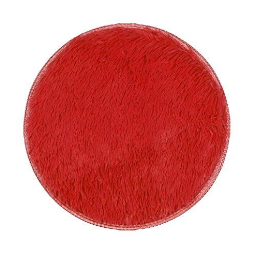 Baumwolle Floral Kopfkissenbezug (Haushalt Runde Seidenhaar Teppich Bodenmatte,Jaminy Verdickte Runde Teppich Matten Esszimmer Schlafzimmer Teppichboden Matte 40x40cm (Rot))