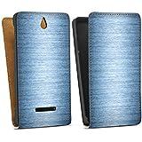 Sony Xperia E Tasche Hülle Flip Case Metall Look Metal Look - Indigo