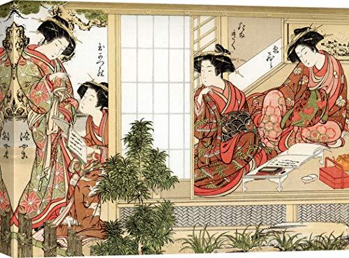 Art Print CAFÉ - Kunstdruck auf Leinwand - Japanische Kunst - Katsukawa Shunsho, Japanese Beauties, 1776 - 60x40 cm - Cafe Leinwand