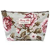Rosennie Vintage Blumen Floral Printed Kosmetiktasche Cosmetic Bag Make-up Taschen Reisetasche Make-Up Beutel Münztüte Wasserdichte Kosmetik Make-up Tasche Schminktasche(B)